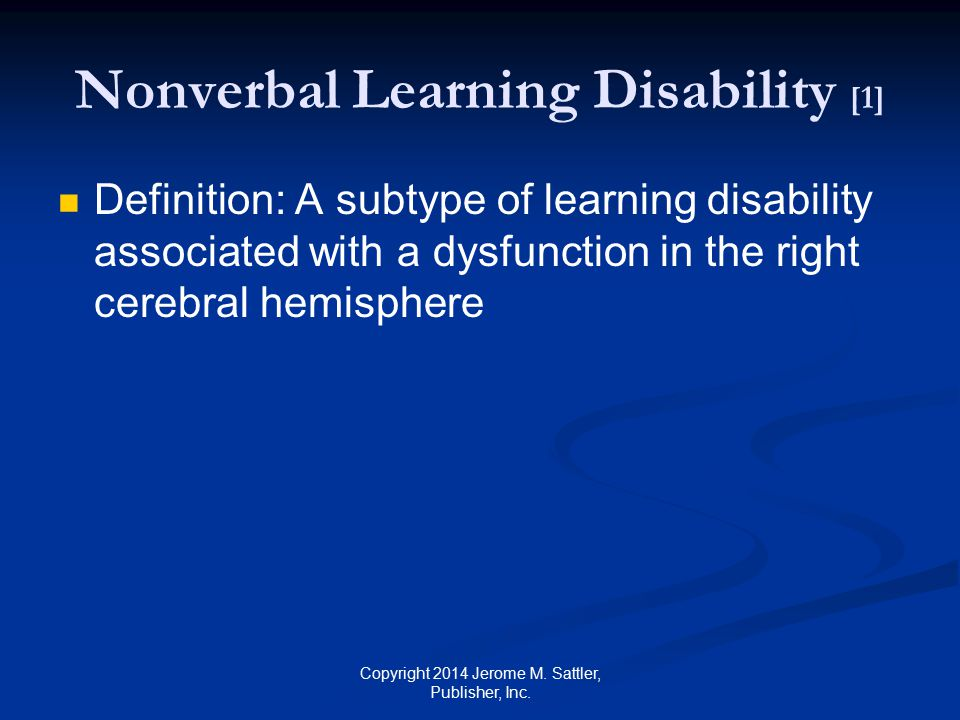 Nonverbal Learning Disability [1]